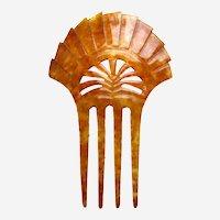 Art Deco hair comb steer horn sunray design hair ornament