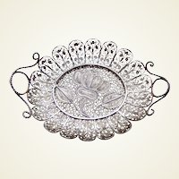 Miniature filigree silver doll house fruit dish or tray