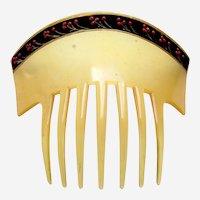 Art Deco hair comb with painted floral border hair accessory
