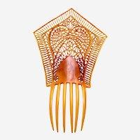 Huge Art Deco hair comb pierced Spanish style hair accessory