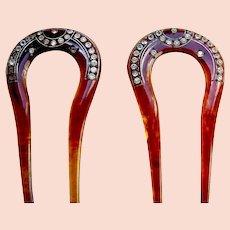 Matched pair rhinestone hair combs in imitation tortoiseshell