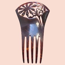 Late Victorian Spanish style hair comb with floral design