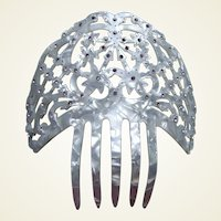 Vintage mother of pearl effect Spanish style hair comb (ABD)