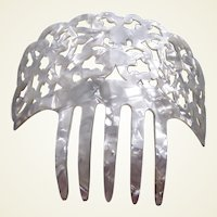 Vintage Spanish mantilla comb in mother of pearl effect celluloid (ABG)