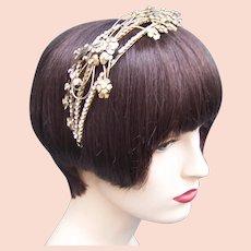 Asymmetric design Hollywood Regency tiara AB rhinestone mid hair accessory