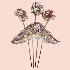 Unusual Indonesian hair comb rhinestone trembler flowers hair ornament accessory