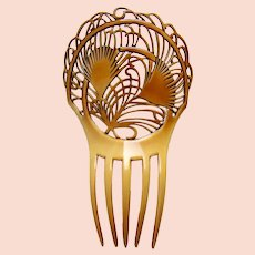 Large Art Deco hair comb celluloid Spanish style hair accessory