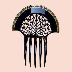 Black celluloid Art Deco hair comb with mother of pearl inlay