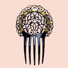 Art Deco hair comb with painted decoration hair accessory