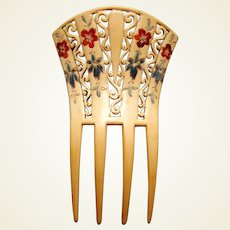 French ivory hair comb with painted decoration hair accessory