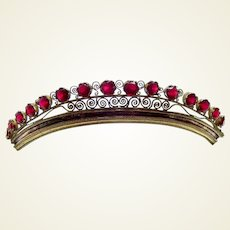 Regency period fire gilded tiara garnet stones hair ornament