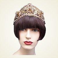 Hollywood Regency tiara or headdress AB rhinestone theatrical headpiece