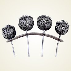 Late 19th century silver filigree hair comb with decorative balls