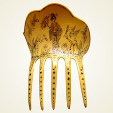Art Deco French ivory hair comb with Japanese lady hair ornament