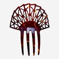 Art Deco faux tortoiseshell hair comb sunray design hair ornament