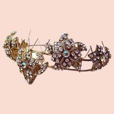 Vintage Rhinestone tiara leaves motif hair accessory