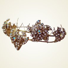 Vintage Rhinestone tiara leaves motif hair accessory