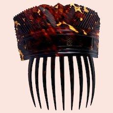 Regency period hair comb pressed tortoiseshell hair accessory