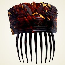 Regency period hair comb pressed tortoiseshell hair accessory