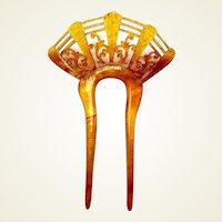 Art Deco hair comb amber fan shaped hair accessory vanity item