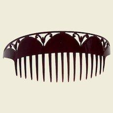 Art Deco hair comb black celluloid bandeau comb hair ornament
