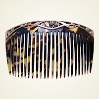 Art Nouveau hair comb 9 kt gold hair accessory