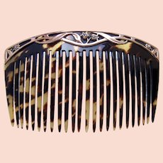 Art Nouveau hair comb 9 kt gold hair accessory