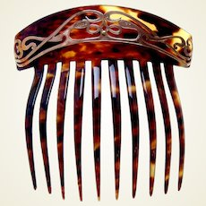 Art Nouveau hair comb 9 kt gold hair ornament