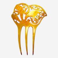 Art Nouveau hair comb amber asymmetric style hair accessory
