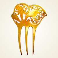 Art Nouveau hair comb amber asymmetric style hair accessory