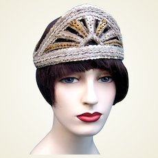 Art Deco oriental style evening headdress metallic embroidery Egyptian bandeau headpiece (AAA)
