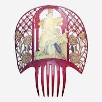 Huge red Spanish mantilla hair comb fantasy headpiece