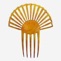 Art Deco amber hair comb sunray style hair ornament vanity item