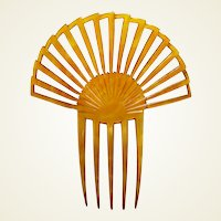 Art Deco amber hair comb sunray style hair ornament vanity item