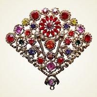 Butler and Wilson rhinestone brooch multicolour fan shape