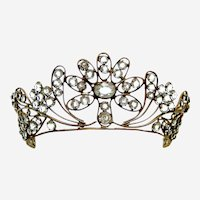 Regency fire gilt metal tiara faceted crystal bridal headdress