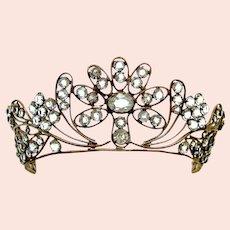Regency fire gilt metal tiara faceted crystal bridal headdress