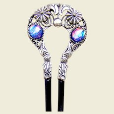 Late Victorian hair comb opal glass hair accessory vanity item
