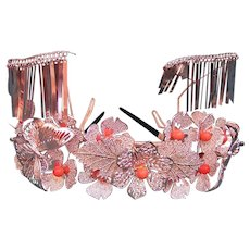 Vintage Japanese hair accessory tiara style kanzashi headpiece