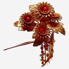 Vintage Japanese kanzashi hair pin flower spray with dangles