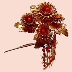 Vintage Japanese kanzashi hair pin flower spray with dangles