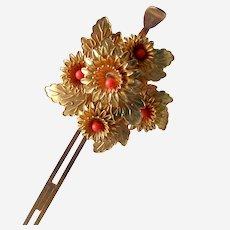 Vintage Japanese kanzashi hair pin flower spray with coral
