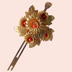 Vintage Japanese kanzashi hair pin flower spray with coral