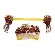 Vintage Japanese kanzashi comb and hair pin wedding hair accessories