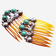 Mexican hair combs sterling silver with turquoise matched pair hair accessories