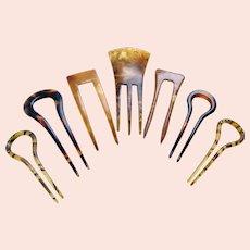 Seven vintage hair pins faux tortoiseshell hair comb accessories