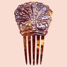Victorian hand painted hair comb faux tortoiseshell hair ornament