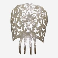 Spanish mantilla style hair comb celluloid mother of pearl effect headdress