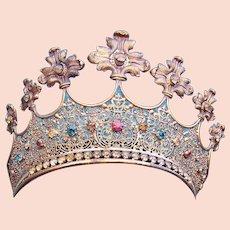 Gilded metal crown theatrical or religious santos multi coloured stones