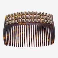 Late Victorian rhinestone hair comb faux tortoiseshell hair accessory